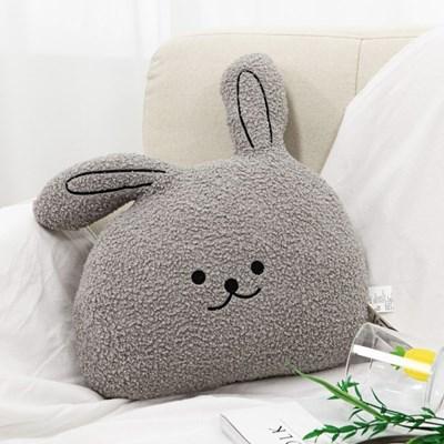 동물시리즈 뽀글 토끼 얼굴 쿠션 귀여운 애착 인형