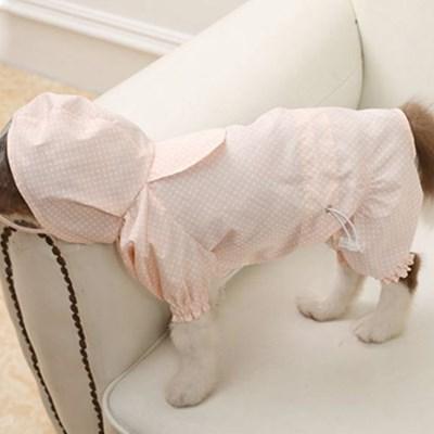 도트 강아지 방수 후드 우비 애견 비옷 핑크 네이비