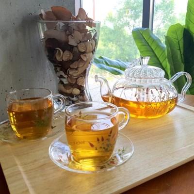허브데이 허브잔 4인세트 꽃무늬 티컵 내열유리 찻잔+받침 컵앤소서