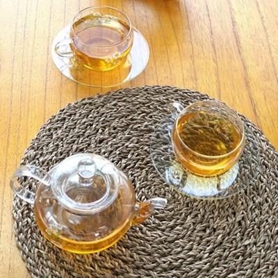 허브데이 홍차잔 4인세트 꽃무늬 티컵 내열유리 찻잔+받침 컵앤소서