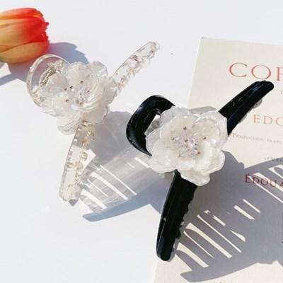 영롱 크리스탈 비즈 꽃 플라워 집게핀 (2color)