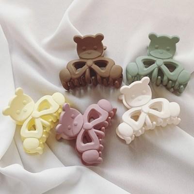 [1+1][14color] 테디 베어 곰돌이 파스텔 유광&무광 집게핀