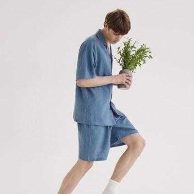 (m) French Blue Short Pajama Set
