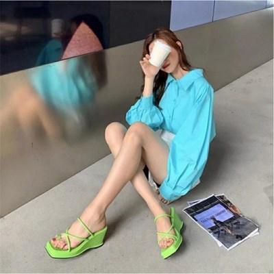 여자 바캉스룩 키작녀 키높이 8cm 통굽 샌달 샌들