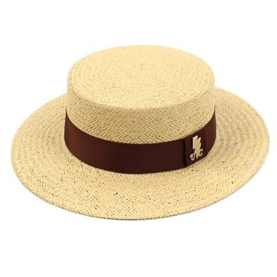 Brown Line Beige Panama Hat 파나마햇