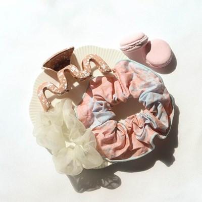 [블루밍데이] 달마시안 페인팅 곱창 머리끈 집게핀 3종 세트_핑크