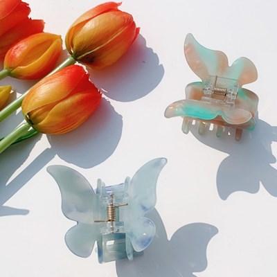 영롱 색감 봄 꽃 나비 헤어 집게핀 (6color)