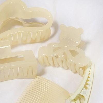 곰돌이 사각 하트 집게핀 & 머리핀 & 빗 6종 패키지 세트 (4color)