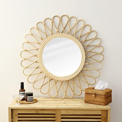 해바라기 라탄 원형 거울 60cm대형_(1295883)