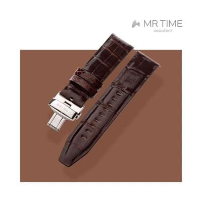 [MR TIME Crocodile Leather Brown] 악어가죽 시계줄 디버클 브라운