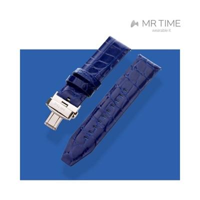 [MR TIME Crocodile Leather Blue] 악어가죽 시계줄 디버클 블루