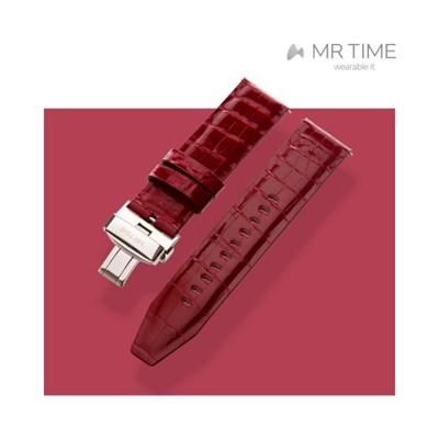 [MR TIME Crocodile Leather Red] 악어가죽 시계줄 디버클 레드
