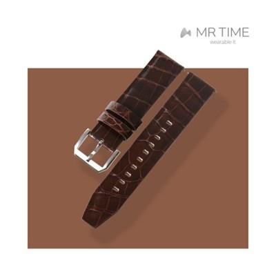 [MR TIME Crocodile Leather Brown] 악어가죽 시계줄 핀버클 브라운