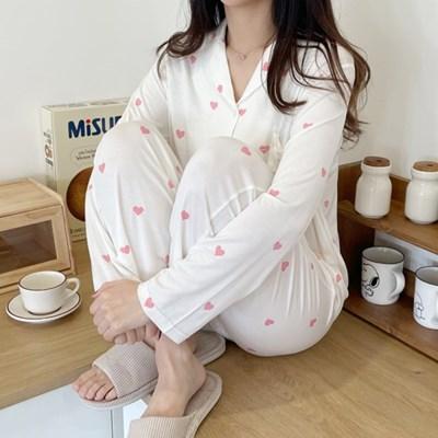 모달 하트 잠옷 신축성 좋은 홈웨어 파자마 키작녀
