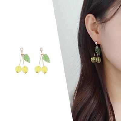 [라이트썸머] 레몬 체리 비즈 귀걸이_옐로우(AGID0509HBPY)