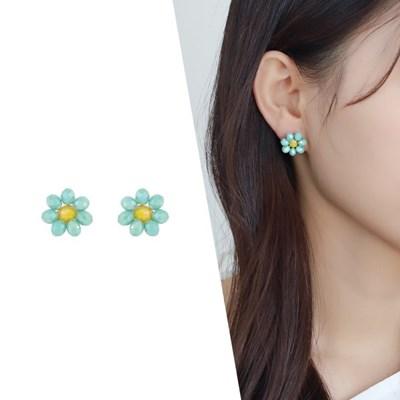 [라이트썸머] 미니 비즈 플라워 귀걸이_민트(AGIS0512HBJM)