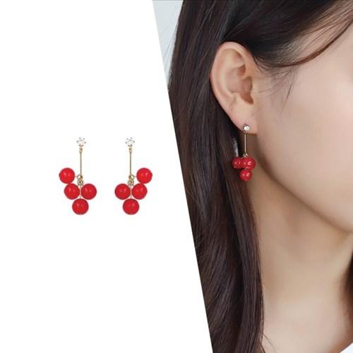 [라이트썸머] 체리 방울 귀걸이_레드(AGID0502HBJD)