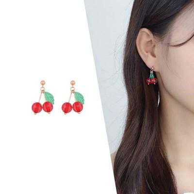 [라이트썸머] 체리 방울 미니 비즈 귀걸이_레드(AGIE0511HBPD)
