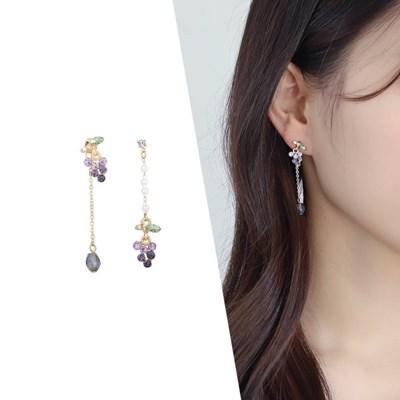 [라이트썸머] 포도송이 비즈 귀걸이_바이올렛(AGID0511HBJV)