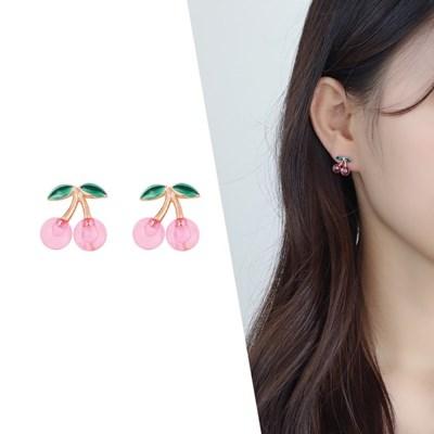 [라이트썸머] 체리뽀짝 비즈 귀걸이_핑크(AGIS0513HBPP)