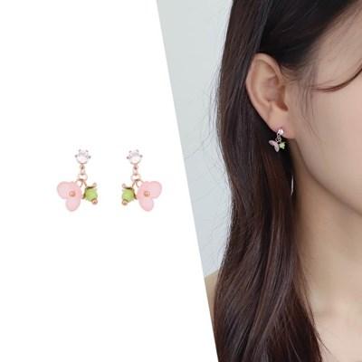 [라이트썸머] 방울 플라워 미니 귀걸이_핑크(AGIE0402HBPP)