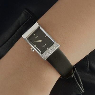 여자 고등학생 가죽 시계 바우스 그리드 블랙 실버_(512148)