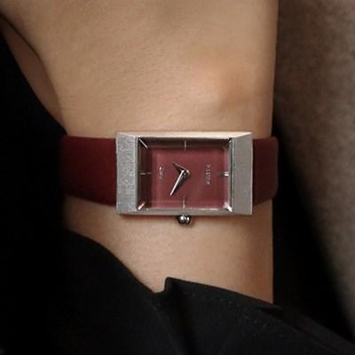 여자 고등학생 가죽 시계 바우스 그리드 버건디실버_(512150)