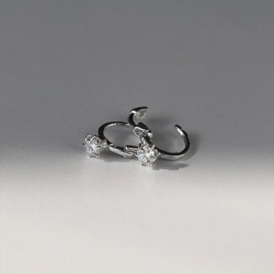 [Silver925] Side cubic earring_(1539362)