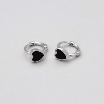 [Silver925] Heart onyx one touch earring_(1539364)