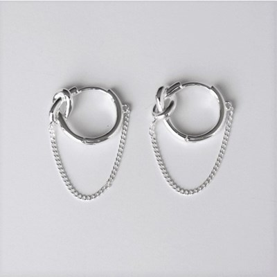 [Silver925] Knot chain earring_(1539367)