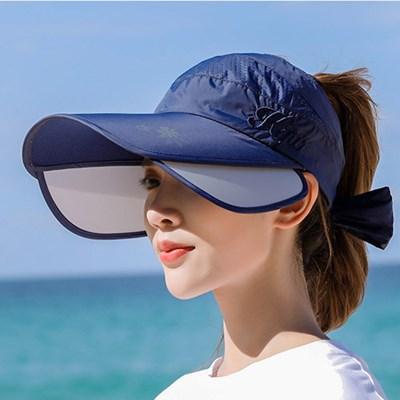 UV 햇빛 차단 챙 넓은 와이드 여자 선캡 여름 모자