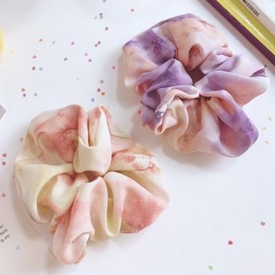 [2개세트][2color] 팝핑 캔디 수채화 드로잉 그라데이션 곱창 머리끈