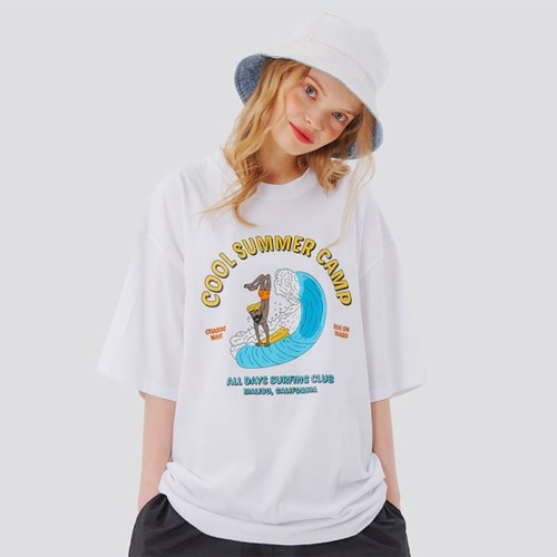서핑클럽 오버핏 반팔티셔츠 - 화이트