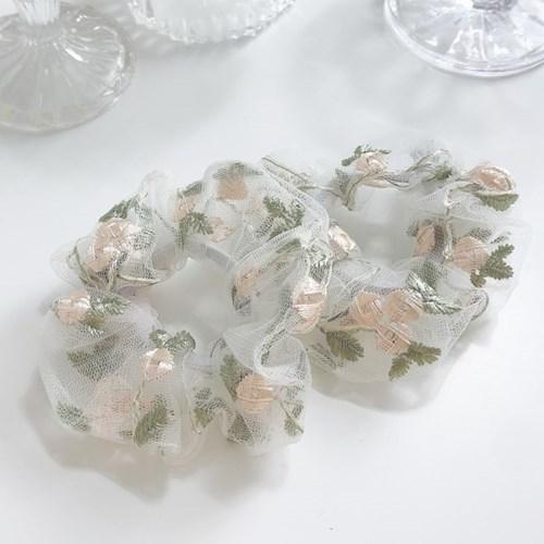 [1+1] 미니 웨딩드레스 꽃 자수 플라워 셀프 웨딩 곱창 머리끈