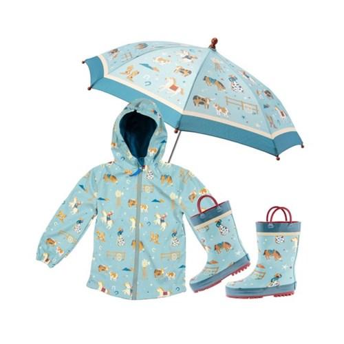 프린티드 레인3종 SET - 웨스턴 / 우비,우산,장화