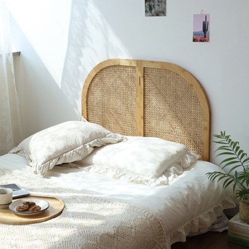 [리퍼]L.O.T 라탄 우든 싱글 저상형 침대 헤드보드 원목 파티션