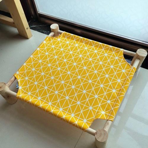 강아지고양이 방석 쿠션 원목침대(패턴 옐로우)