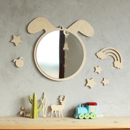 강아지 원목 아크릴 안전거울 유아 아이방 벽거울