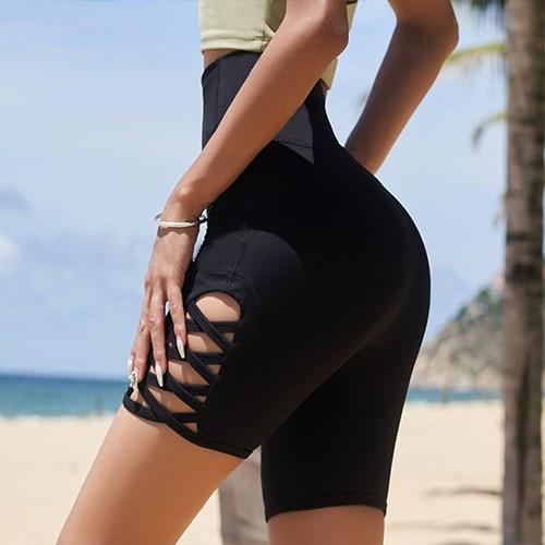여성 하이웨스트 5부 레깅스 힙업 스판 스포츠 블랙