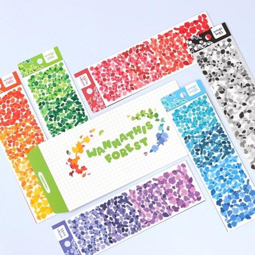 워너디숲의 풀잎 스티커 6가지 컬러 세트