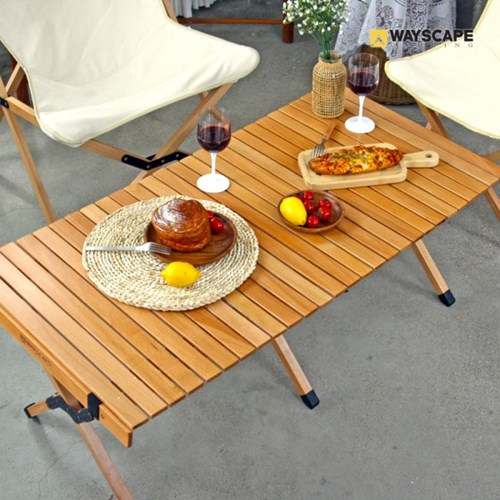 웨이스케이프 캔버스 비치목 특대형 우드 롤 접이식 감성 테이블