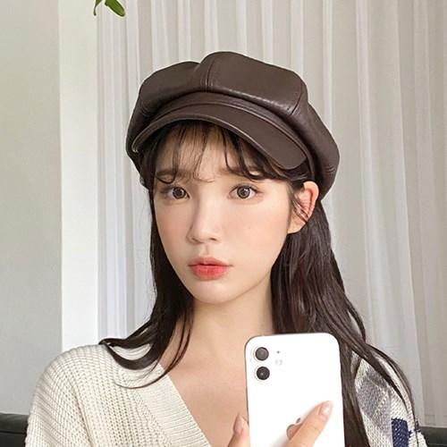 인조가죽 레더 헌팅캡 마도로스모자 여성 팔각모 빵모자