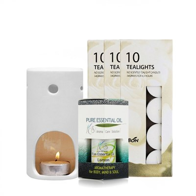 [ACS] 레몬 아로마테라피세트- 레몬 10ml 램프 티라이트 30개