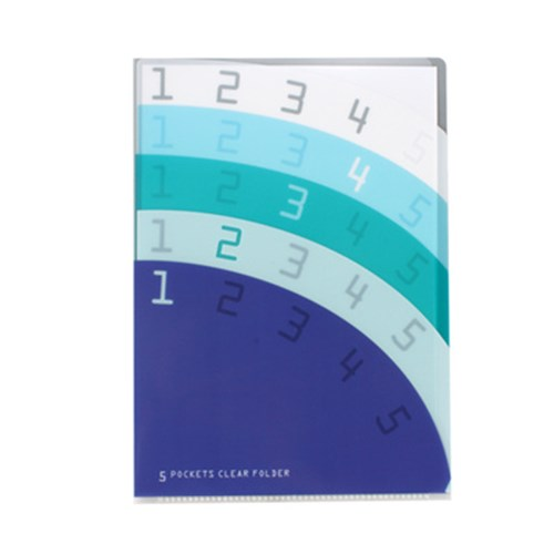 5 Pocket Clear Folder A4 - Pocket Purple