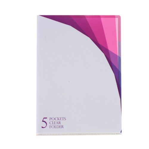 5 Pocket Clear Folder A4 - Prism White