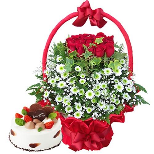 붉은하늘꽃바구니+케익 [전국당일배송꽃배달]