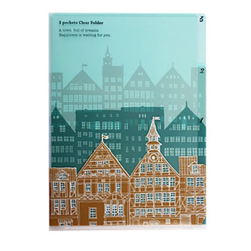 3 Pocket Clear Folder A6 - Townscape