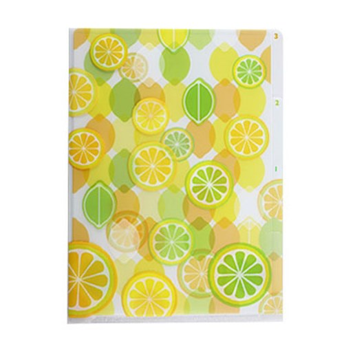 3 Pocket Clear Folder A6 - Lemons
