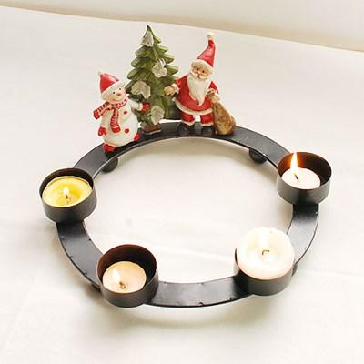 스노우맨과 산타 4구 촛대