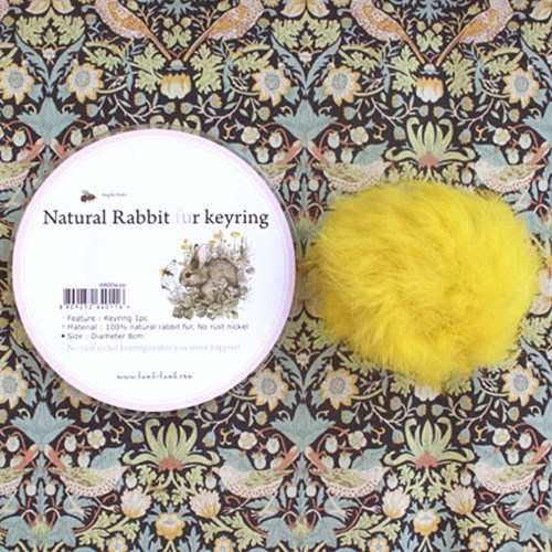 Natural rabbit fur keyring -yellow